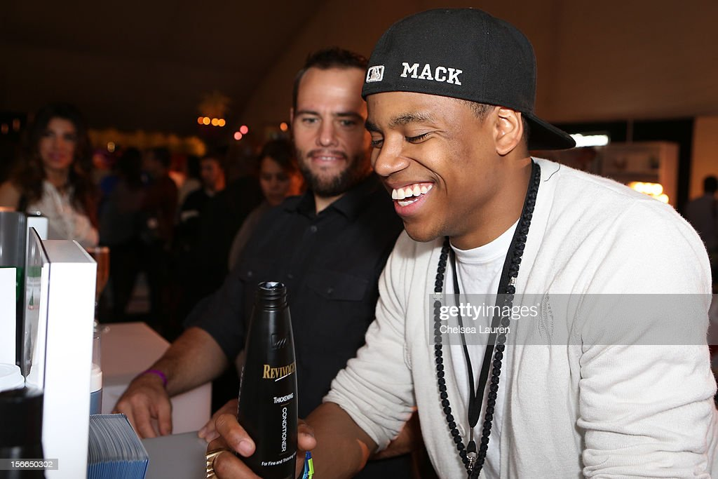 Youtube host Shay Carl (L) and actor Tristan Wilds attend LPB Group presents day 2 of the official AMA gift lounge at Nokia Theatre L.A. Live on November 17, 2012 in Los Angeles, California.