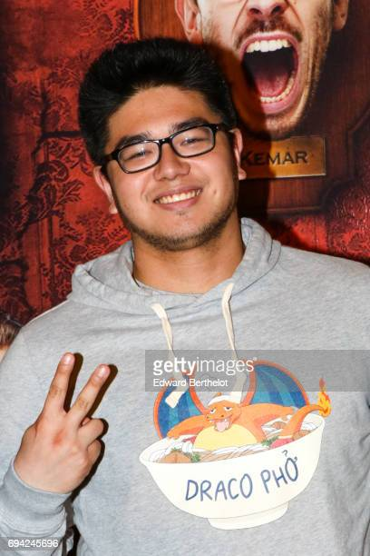 Youtube influencer Kevin Tran 'Kevin le Rire Jaune' during the 'Le Manoir' Paris Premiere photocall at Le Grand Rex on June 9 2017 in Paris France