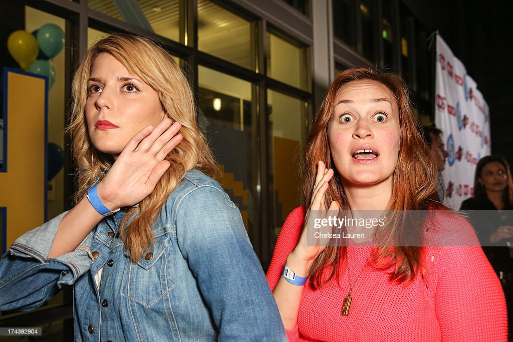 YouTube personalities 'Daily' Grace Helbig (L) and Mamrie Hart attend the Video Game High School season 2 premiere party at YouTube Space LA on July 24, 2013 in Los Angeles, California.