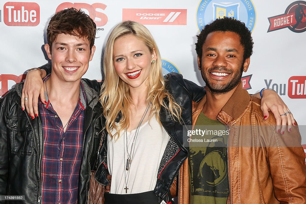 YouTube personalities Josh Blaylock, Johanna Braddy and Rocky Collins attend the Video Game High School season 2 premiere party at YouTube Space LA on July 24, 2013 in Los Angeles, California.