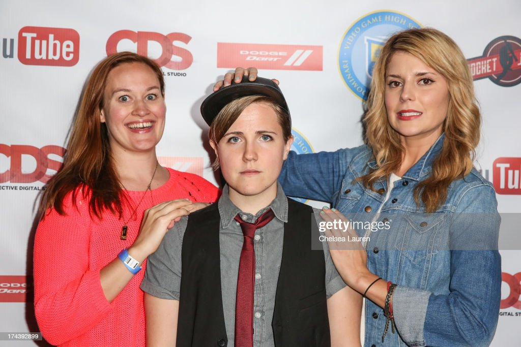 YouTube personalities Mamrie Hart, Hannah Hart and 'Daily' Grace Helbig attend the Video Game High School season 2 premiere party at YouTube Space LA on July 24, 2013 in Los Angeles, California.