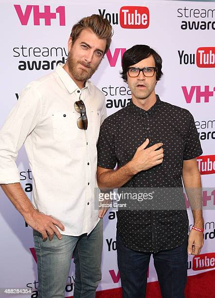 YouTube personalities Rhett and Link attend the Official Streamys Nominee and Creator Reception at YouTube Space LA on September 14 2015 in Los...