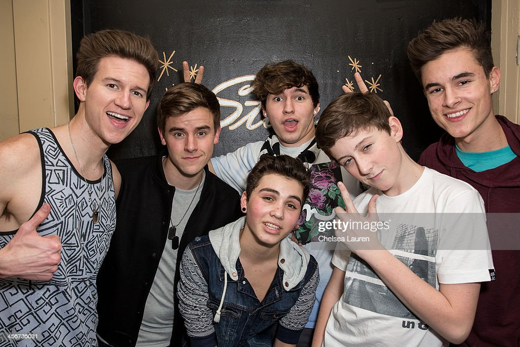 Youtube personalities Ricky Dillon, Connor Franta, Sam Pottorff, JC Caylen, Trevor Moran and Kian Lawley of O2L pose backstage at DigiFest LA at Hollywood Palladium on December 14, 2013 in Hollywood, California.