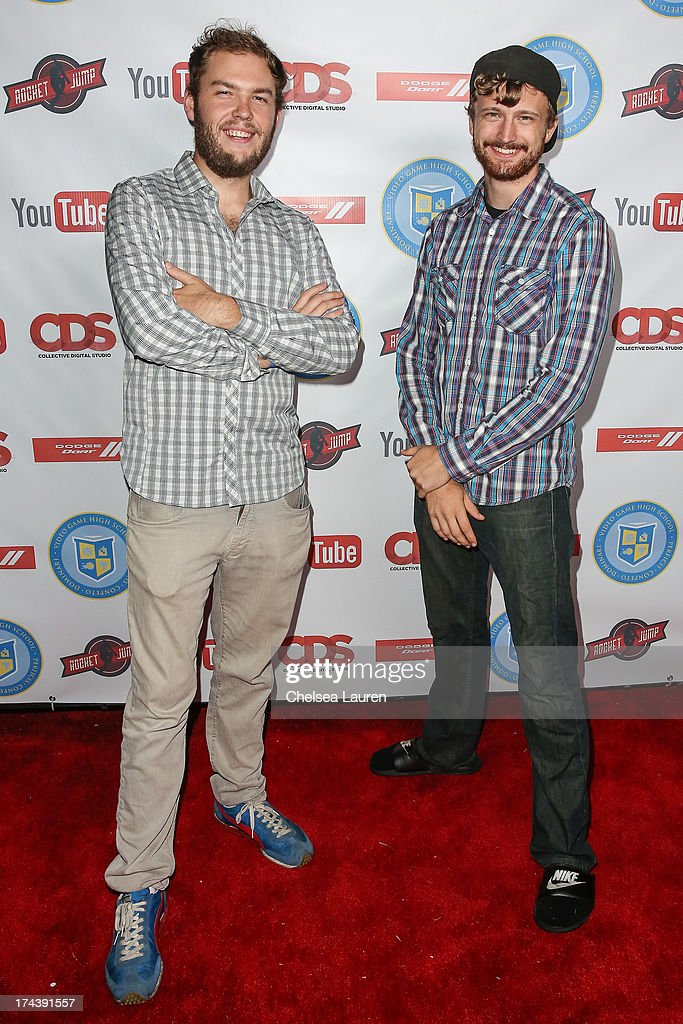 YouTube personalities Sam Gorski (L) and Nico Pueringer of Corridor Digital attend the Video Game High School season 2 premiere party at YouTube Space LA on July 24, 2013 in Los Angeles, California.