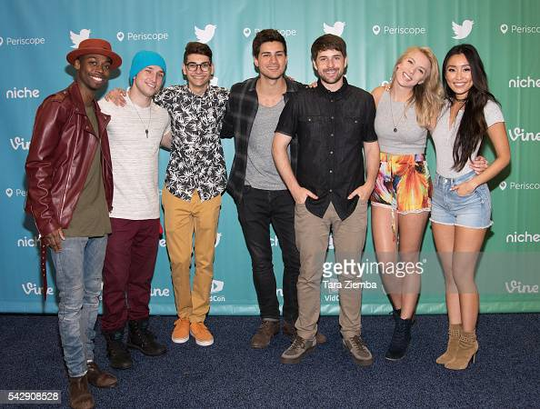 YouTube personalities SMOSH Keith Leak Jr Shayne Topp Noah Grossman Anthony Padilla Ian Hecox Courtney Miller Olivia Sui attend the 7th Annual VidCon...