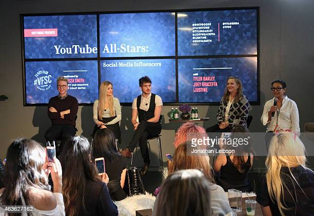 YouTube personalities Tyler Oakley iJustine and Joey Graceffa Vanity Fair Executive West Coast Editor Krista Smith and Associate Publisher Integrated...