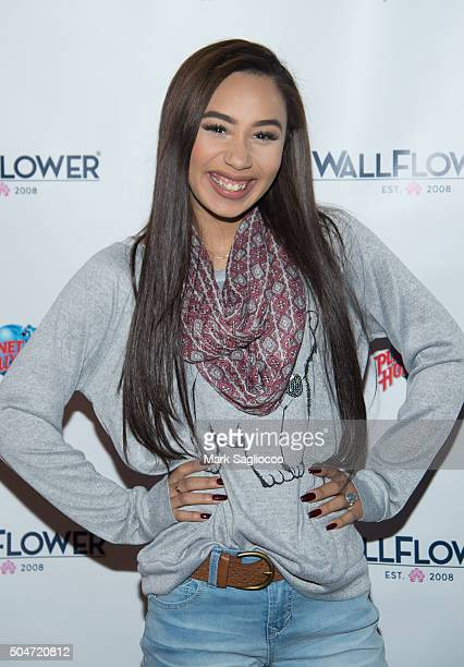 YouTube Personality Eva Gutowski visits Planet Hollywood in Times Square on January 12 2016 in New York City