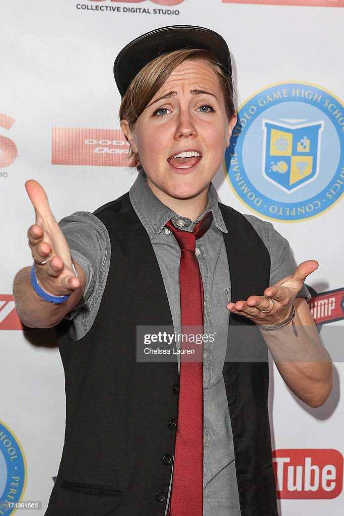 YouTube personality Hannah Hart attends the Video Game High School season 2 premiere party at YouTube Space LA on July 24, 2013 in Los Angeles, California.
