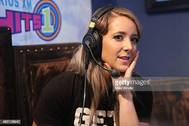 YouTube personality Jenna Marbles attends Hits 1's The Morning Mash Up Broadcast from the SiriusXM Studios on February 10 2015 in Los Angeles...