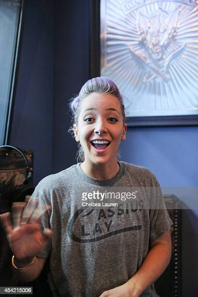 YouTube personality Jenna Marbles attends SiriusXM Hits 1's The Morning Mash Up Broadcast at SiriusXM Studios on August 26 2014 in Los Angeles...