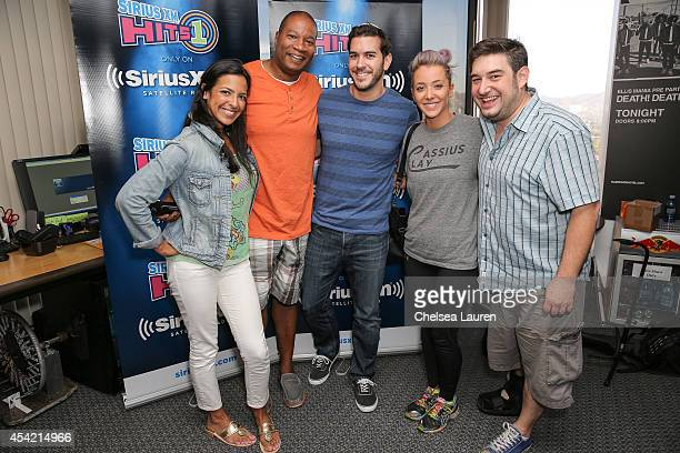 YouTube personality Jenna Marbles poses with radio personalities Nicole Ryan Stanley T Rich Davis and Ryan Sampson at SiriusXM Hits 1's The Morning...