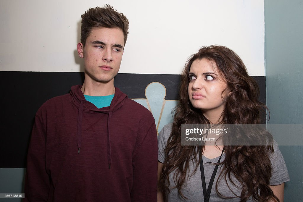 Youtube personality Kian Lawley of O2L (L) and singer <a gi-track='captionPersonalityLinkClicked' href=/galleries/search?phrase=Rebecca+Black&family=editorial&specificpeople=6979851 ng-click='$event.stopPropagation()'>Rebecca Black</a> pose backstage at DigiFest LA at Hollywood Palladium on December 14, 2013 in Hollywood, California.