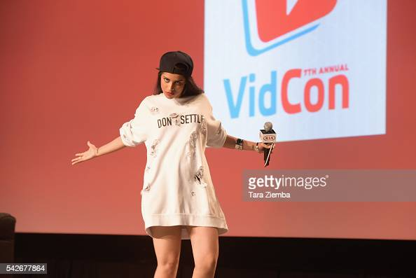 YouTube personality Lilly Singh poses for a photo at the 7th Annual VidCon at Anaheim Convention Center on June 22 2016 in Anaheim California