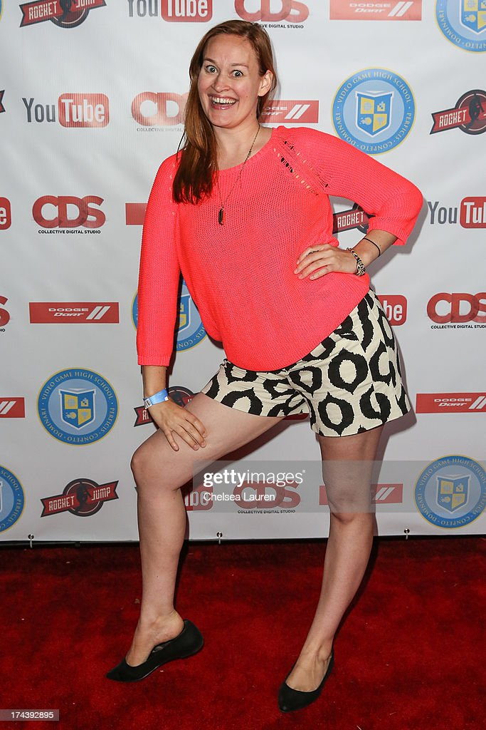 YouTube personality Mamrie Hart attends the Video Game High School season 2 premiere party at YouTube Space LA on July 24, 2013 in Los Angeles, California.