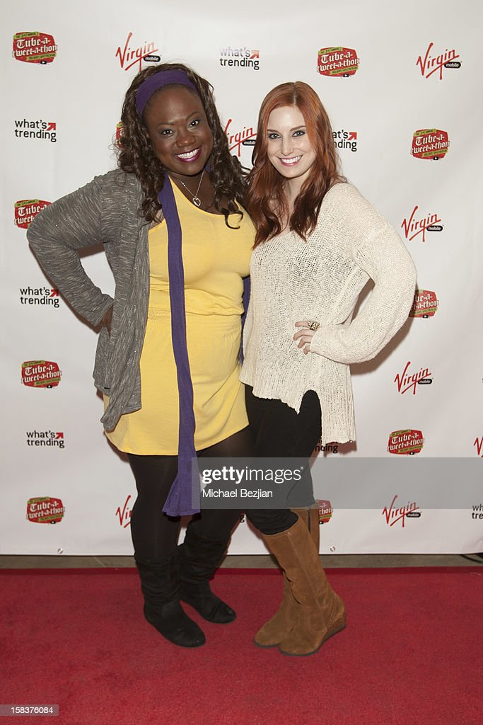 YouTube personality Shanna Malcolm (L) and Bree Essrig attend What's Trending Presents The 1st Annual Tube-A-Tweet-A-Thon Benefiting Covenant House on December 13, 2012 in Hollywood, California.