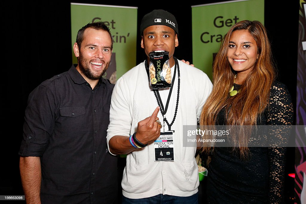 YouTube personality ShayCarl (L) and actor Tristan Wilds (C) attends The Official AMA Artist Gift Lounge presented by LPB Group at Nokia Theatre L.A. Live on November 17, 2012 in Los Angeles, California.