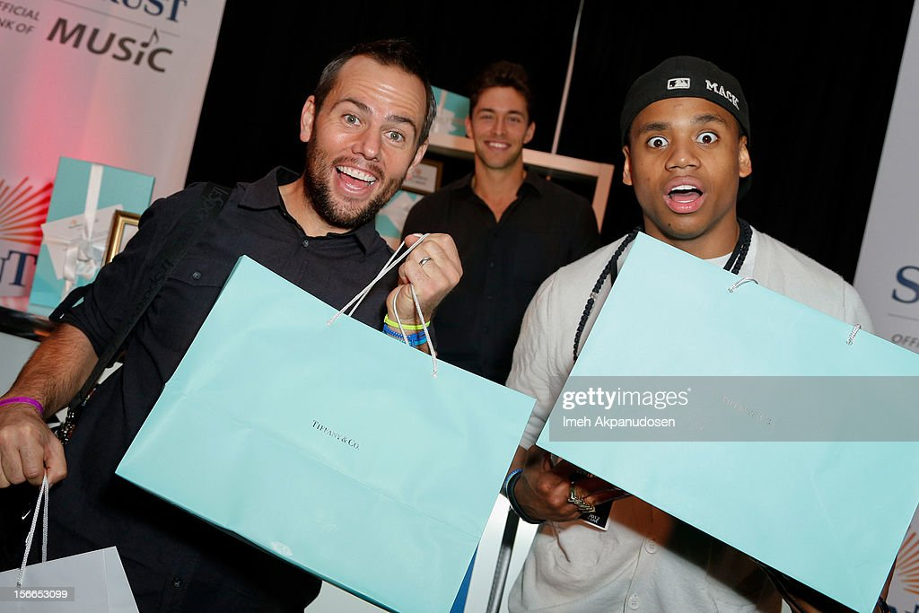 YouTube personality ShayCarl (L) and actor Tristan Wilds attends The Official AMA Artist Gift Lounge presented by LPB Group at Nokia Theatre L.A. Live on November 17, 2012 in Los Angeles, California.