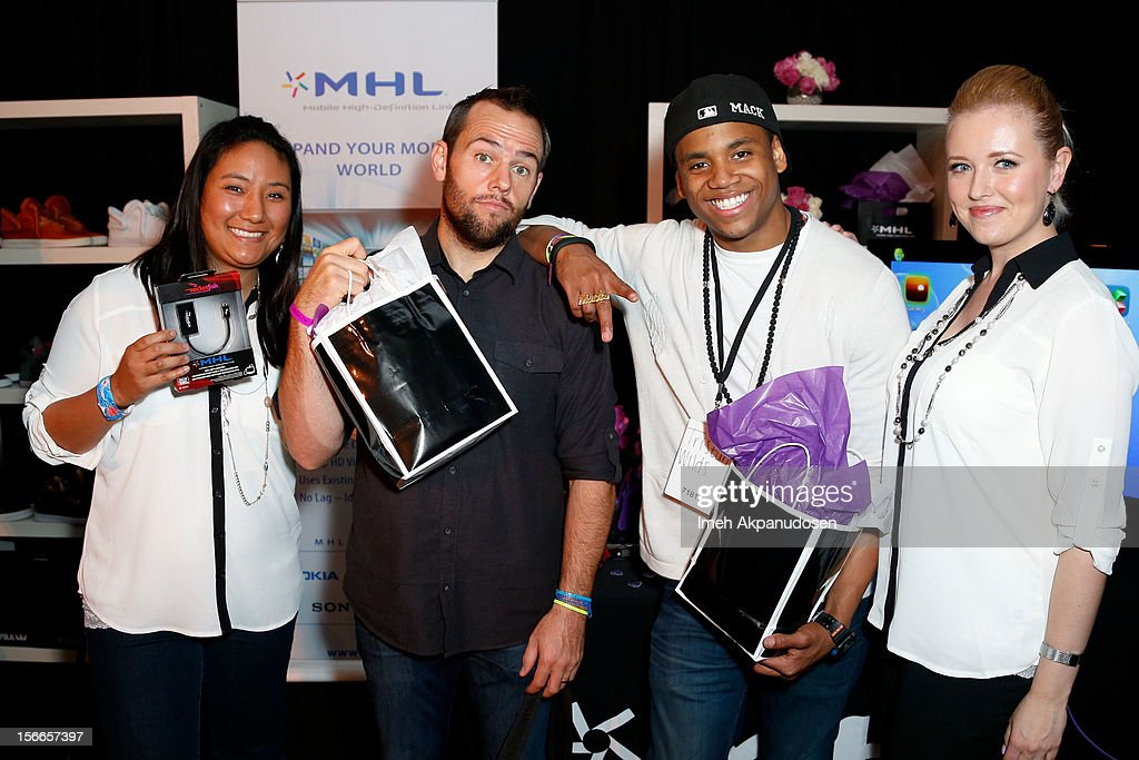 YouTube personality ShayCarl (2nd left) and actor Tristan Wilds (2nd right) attends The Official AMA Artist Gift Lounge presented by LPB Group at Nokia Theatre L.A. Live on November 17, 2012 in Los Angeles, California.