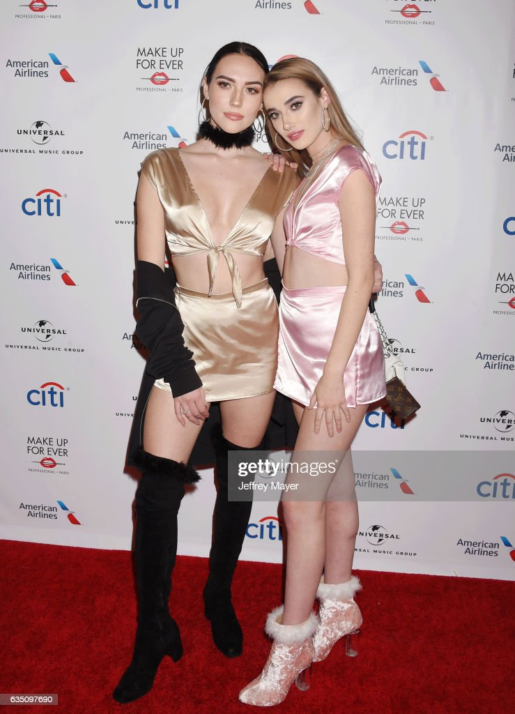 YouTube personality Sydney Carlson (L) and singer-songwriter Olivia O'Brien arrive at the Universal Music Group's 2017 GRAMMY After Party at The Theatre at Ace Hotel on February 12, 2017 in Los Angeles, California.
