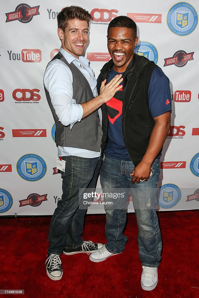YouTube personality T.J. Smith (L) and rapper Jerome Chance attend the Video Game High School season 2 premiere party at YouTube Space LA on July 24, 2013 in Los Angeles, California.