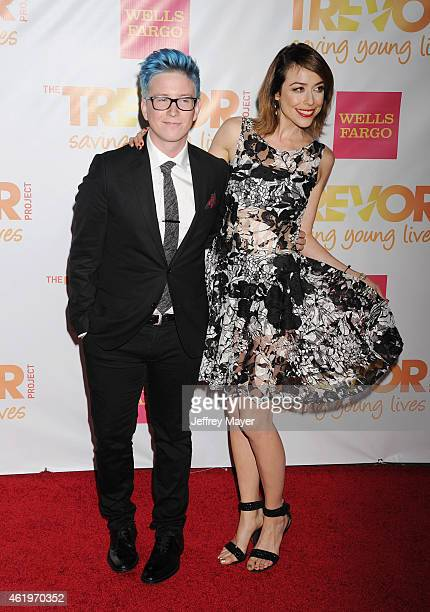 YouTube personality Tyler Oakley and TV personality Shira Lazar arrive at TrevorLIVE Los Angeles at Hollywood Palladium on December 7 2014 in Los...