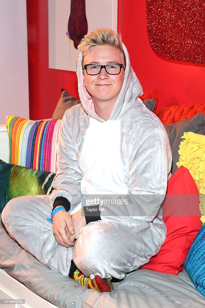 YouTube personality Tyler Oakley at #YTMeetup at Skylight at Moynihan Station on April 29 2015 in New York City