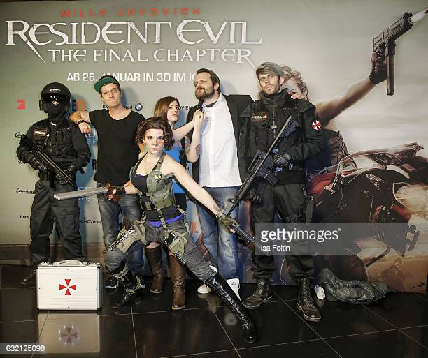 Youtube star and video blogger LeFloid and youtube star and games producer Gronkh with Resident Evil figures during the Social Movie Night At...