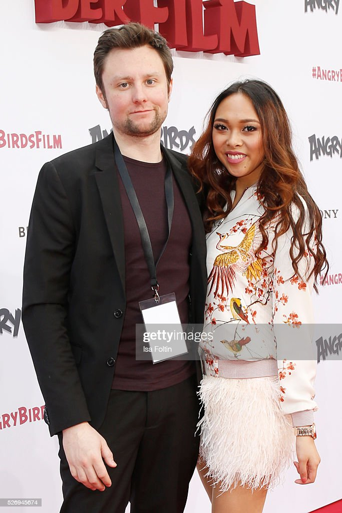 Youtube star Christina Ann Zalamea aka Hello Chrissy and her boyfriend Marc Schiesser attend the Berlin premiere of the film 'Angry Birds - Der Film' at CineStar on May 1, 2016 in Berlin, Germany.