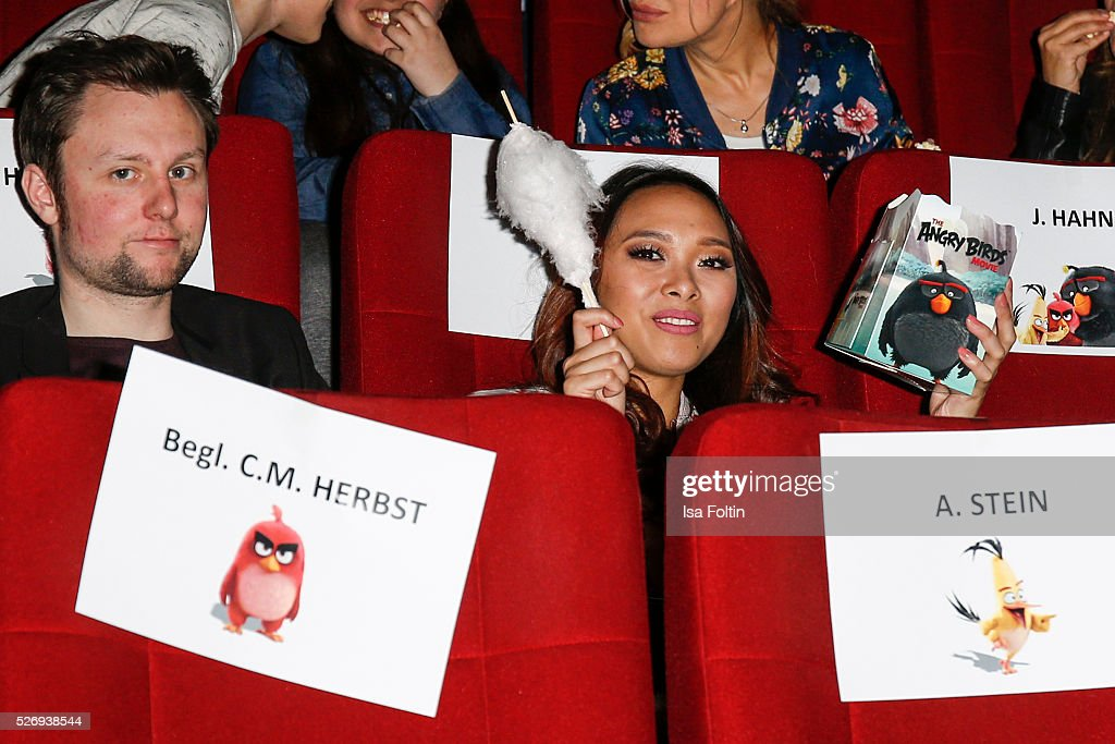 Youtube star Christina Ann Zalamea aka Hello Chrissy sits in the cinema to look 'Angry Birds' during the Berlin premiere of the film 'Angry Birds - Der Film' at CineStar on May 1, 2016 in Berlin, Germany.