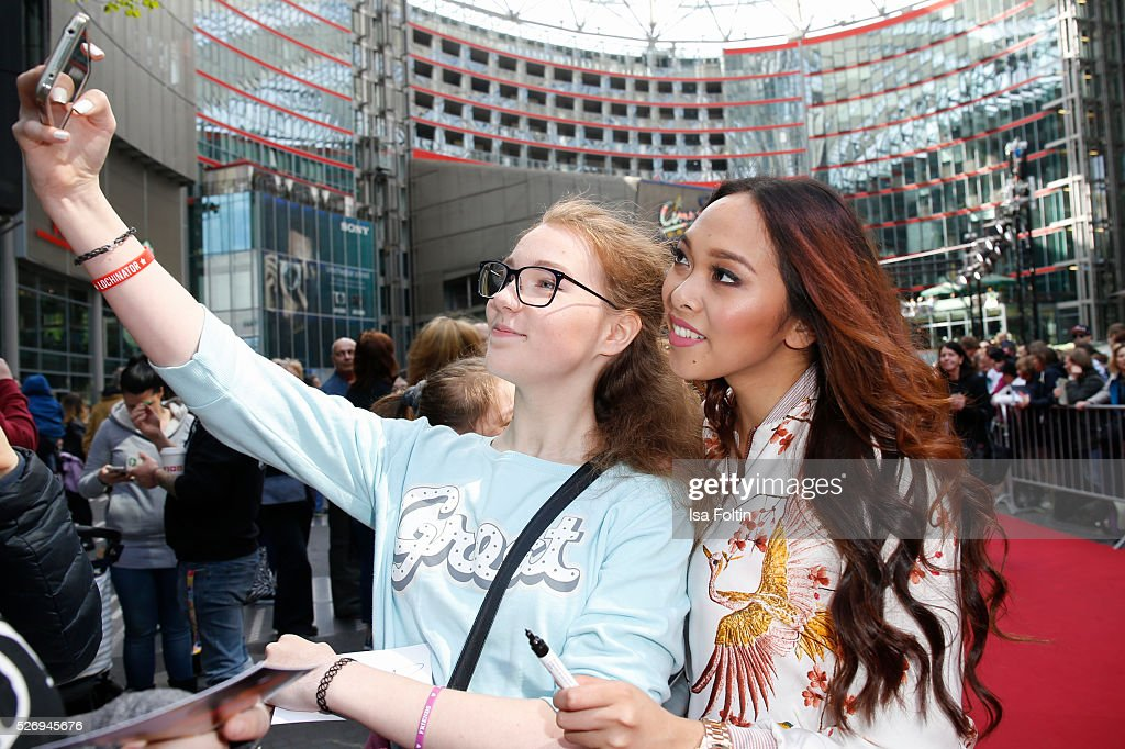 Youtube star Christina Ann Zalamea aka Hello Chrissy with fans during the Berlin premiere of the film 'Angry Birds - Der Film' at CineStar on May 1, 2016 in Berlin, Germany.