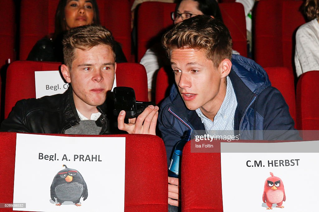 Youtube star Luca aka ConCrafter sits in the cinema to look 'Angry birds' during the Berlin premiere of the film 'Angry Birds - Der Film' at CineStar on May 1, 2016 in Berlin, Germany.