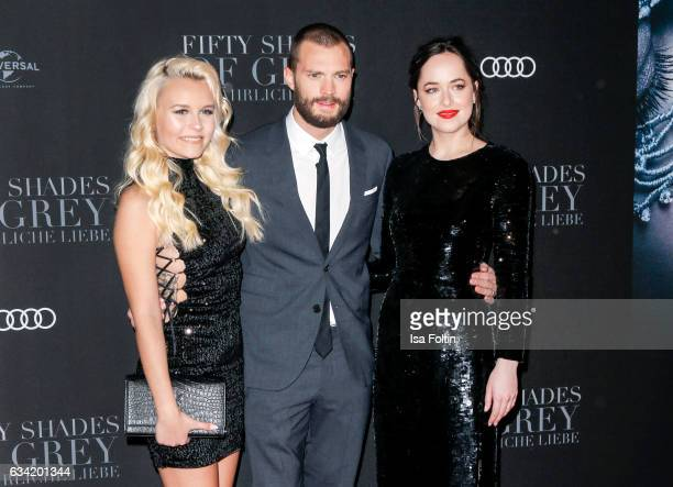Youtube star Dagi Bee british actor Jamie Dornan and US actress Dakota Johnson attend the European premiere of 'Fifty Shades Darker' at Cinemaxx on...