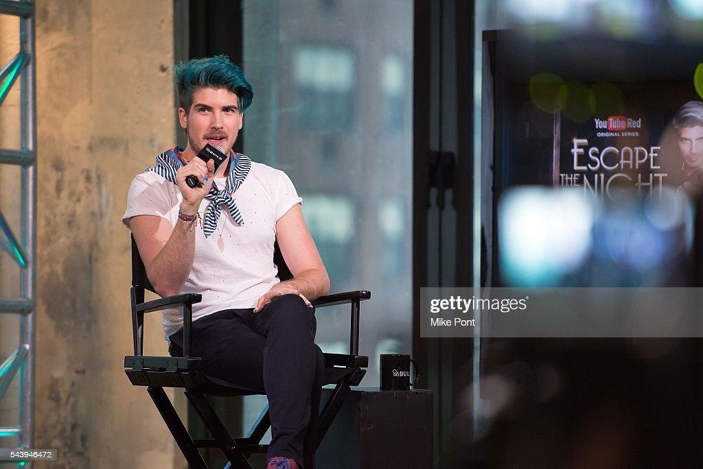 YouTube star <a gi-track='captionPersonalityLinkClicked' href=/galleries/search?phrase=Joey+Graceffa&family=editorial&specificpeople=9869192 ng-click='$event.stopPropagation()'>Joey Graceffa</a> attends the AOL Build Series to discuss 'Escape the Night' at AOL Studios In New York on June 30, 2016 in New York City.