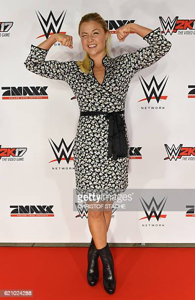 YouTube star Sophia Thiel poses on the red carpet prior to the WWE SixManTagTeamMatch event at the Olympic Hall in Munich southern Germany on...