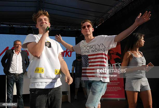 YouTube stars Heiko und Roman Lochmann of DieLochis perform at the Alexa am Alexanderplatz shopping center on August 1 2015 in Berlin Germany