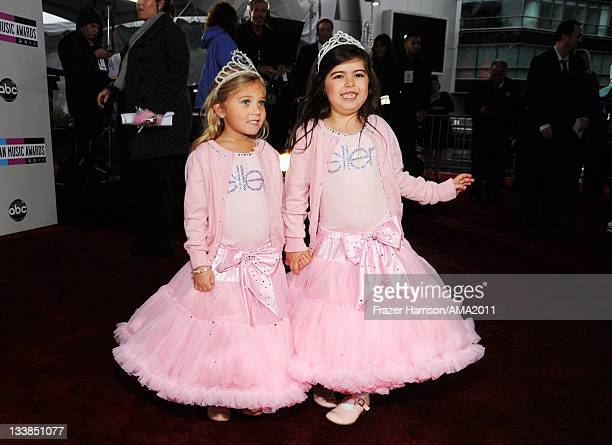 YouTube stars Sophia Grace Brownlee and Rosie Brownlee arrive at the 2011 American Music Awards held at Nokia Theatre LA LIVE on November 20 2011 in...