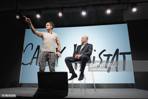 Youtuber Casey Neistat and President of CNN Worldwide Jeff Zucker speaks onstage during the Bleacher Report CNN and Great Big Story Newfront 2017 on...