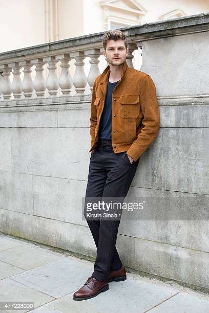 Youtuber Jim Chapman who wears Sandro jacket Tiger Sweden T shirt Louis Vuitton trousers and Russell and Bromley shoes on day 3 of London Collections...
