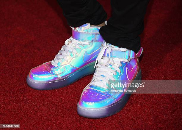 YouTuber Joey Graceffa shoe detail arrives at the premiere of 'A Trip To Unicorn Island' at TCL Chinese Theatre on February 10 2016 in Hollywood...
