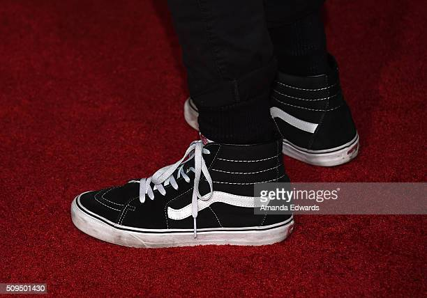 YouTuber Kian Lawley shoe detail arrives at the premiere of 'A Trip To Unicorn Island' at TCL Chinese Theatre on February 10 2016 in Hollywood...