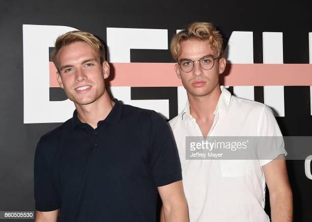 YouTubers Austin Rhodes Aaron Rhodes arrive at the Premiere Of YouTube's 'Demi Lovato Simply Complicated' at the Fonda Theatre on October 11 2017 in...