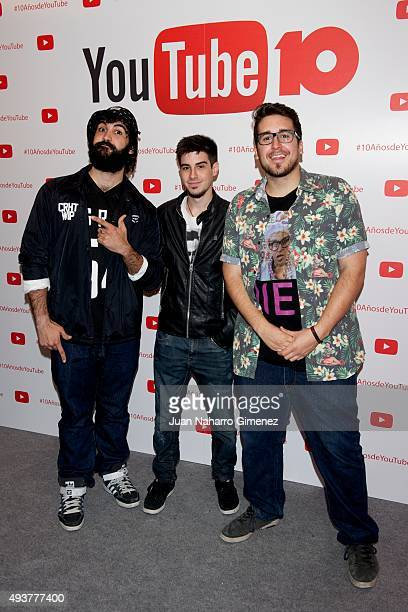 Youtubers Cheeto Alexby and Mangel attend YouTube 10th Anniversary Gala at Giner de los Rios Foundation on October 22 2015 in Madrid Spain