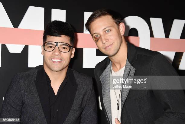 YouTubers Dominic Sandoval aka D'trix and Matt Steffanina arrive at the Premiere Of YouTube's 'Demi Lovato Simply Complicated' at the Fonda Theatre...
