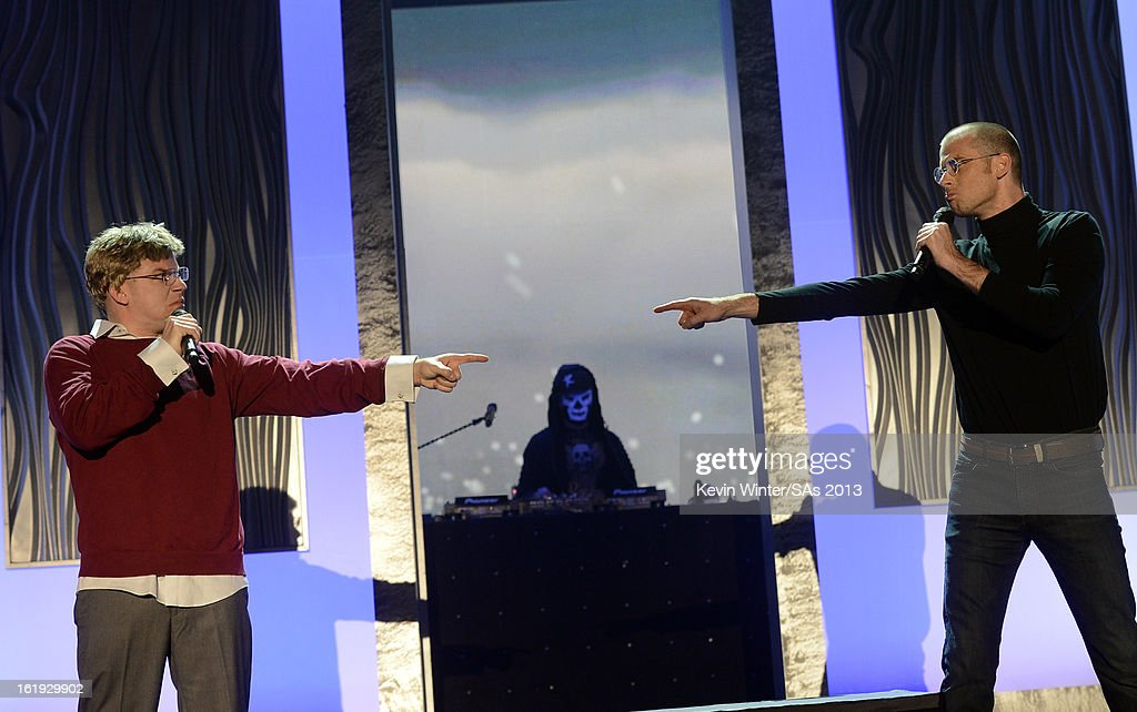 YouTubers Epic Lloyd and Nice Peter perform onstage at the 3rd Annual Streamy Awards at Hollywood Palladium on February 17, 2013 in Hollywood, California.