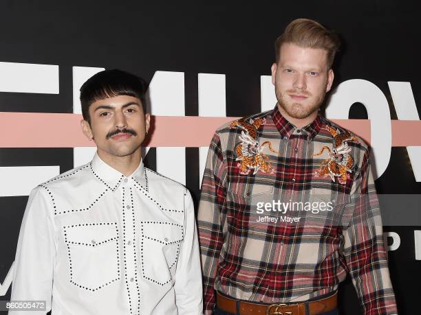 YouTubers Mitch Grassi and Scott Hoying arrive at the Premiere Of YouTube's 'Demi Lovato Simply Complicated' at the Fonda Theatre on October 11 2017...