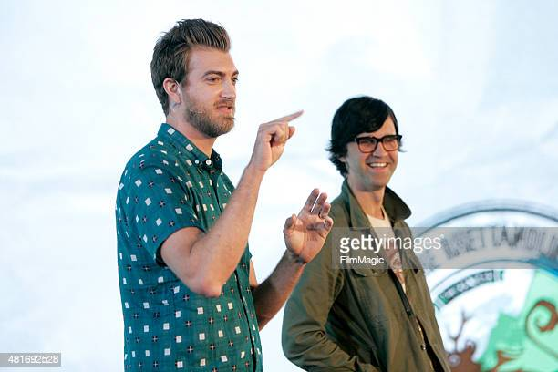 YouTubers Rhett James Maclaughlan and Charles Lincoln 'Link' Neal of 'Rhett and Link' speak at #BrandsAtVidCon at Anaheim Convention Center on July...