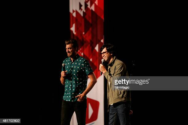 YouTubers Rhett James Maclaughlan and Charles Lincoln 'Link' Neal of 'Rhett and Link' perform at #VidCon at Anaheim Convention Center on July 23 2015...