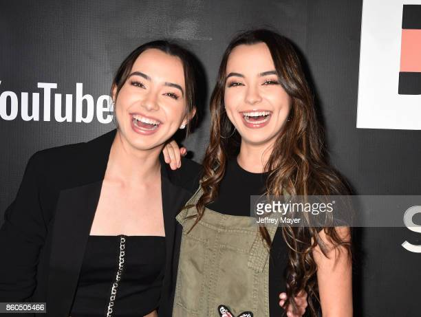 YouTubers Veronica Merrell and Vanessa Merrell arrive at the Premiere Of YouTube's 'Demi Lovato Simply Complicated' at the Fonda Theatre on October...
