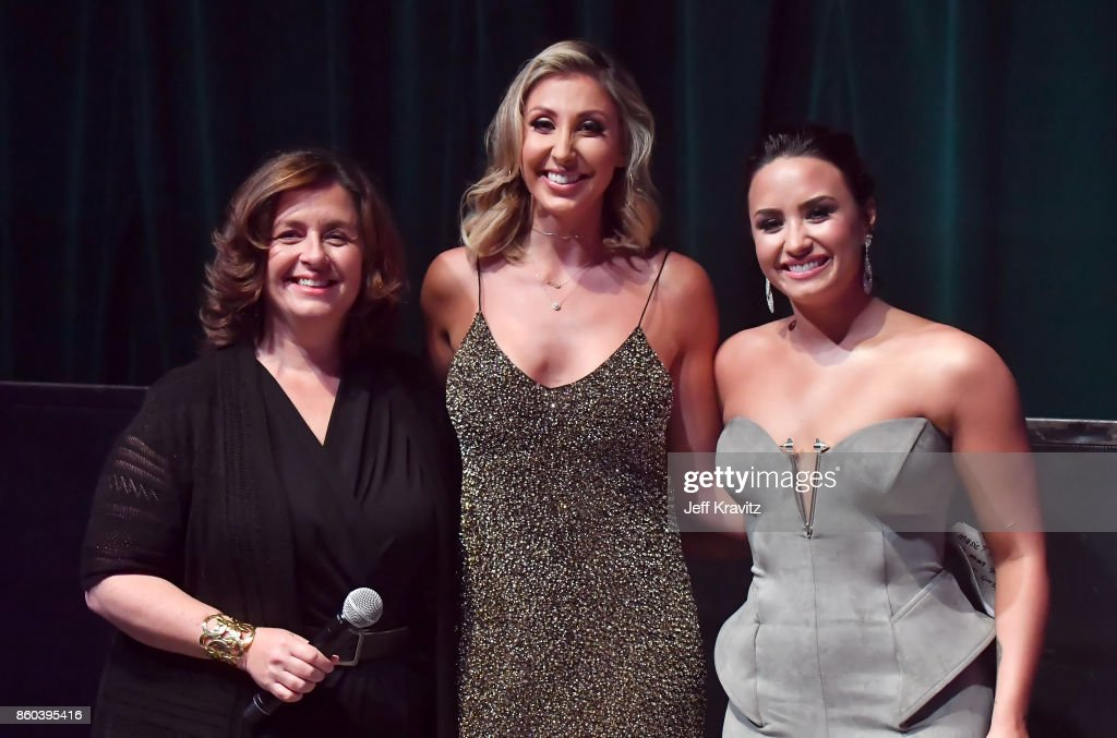 Youtube's global head of original content Susanne Daniels, director Hannah Lux Davis, and Demi Lovato speak osntage during the 'Demi Lovato: Simply Complicated' YouTube premiere at The Fonda Theatre on October 11, 2017 in Los Angeles, California.
