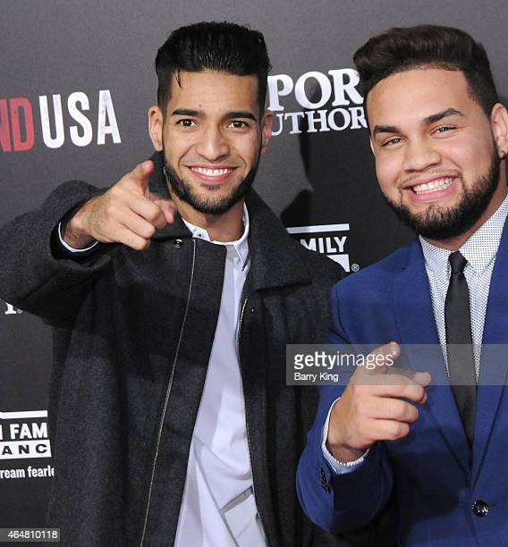 YouTube's LeJuan James and guest arrive at the world premiere of 'McFarland USA' at the El Capitan Theatre on February 9 2015 in Hollywood California